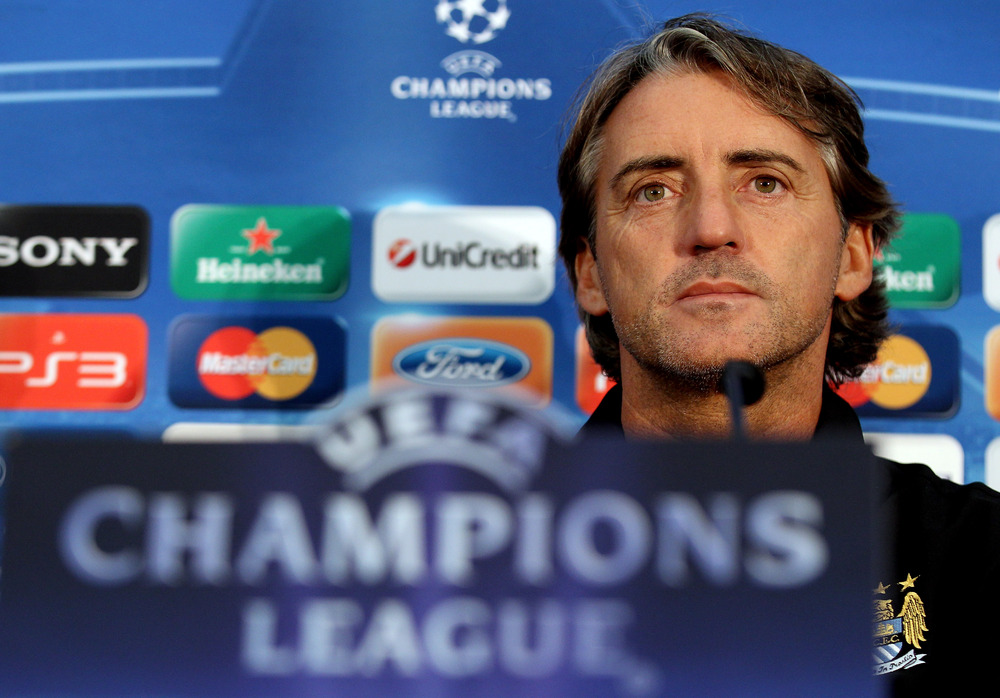 MANCHESTER, ENGLAND - SEPTEMBER 13:  Manchester City manager Roberto Mancini during a press conference at Carrington Training Ground on September 13, 2011 in Manchester, England.  (Photo by Scott Heavey/Getty Images)
