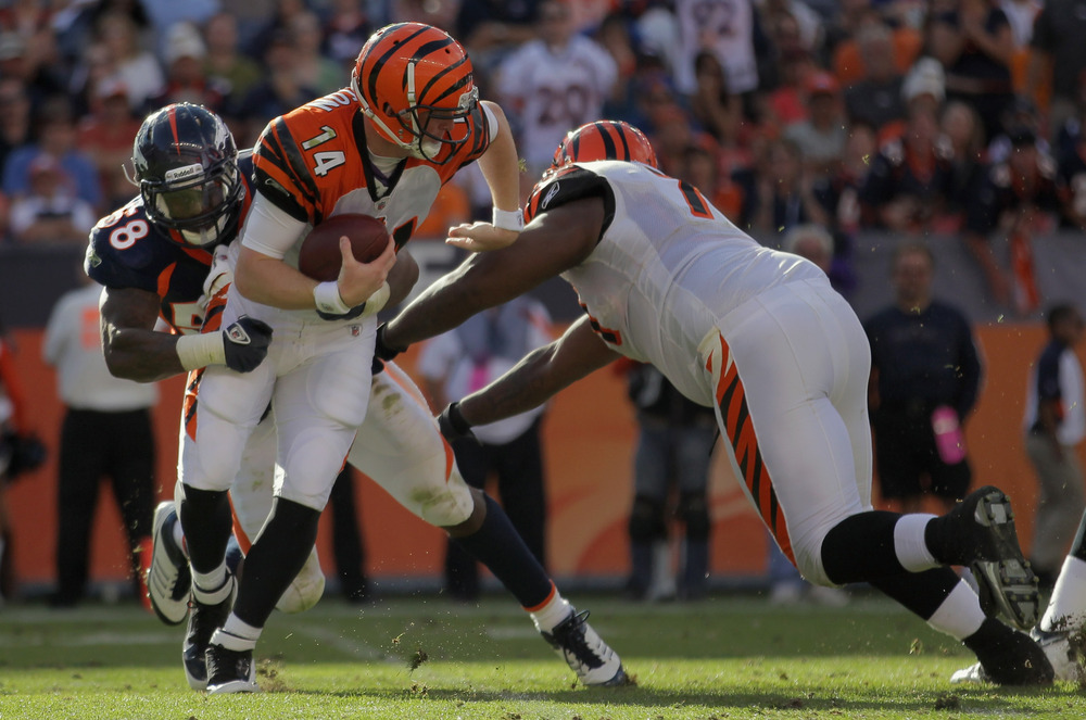 Denver Broncos Linebacker Von Miller Sacks QB Andy Dalton of the Cincinnati Bengals at Invesco Field at Mile High on September 18, 2011. The Broncos beat the Bengals 24-22. (Photo by Doug Pensinger/Getty Images)