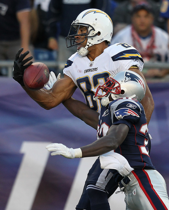 Devin McCourty #32 of the New England Patriots breaks up a pass intended  Vincent Jackson #83 of the San Diego Chargers in the second half at Gillette Stadium. (Photo by Jim Rogash/Getty Images)
