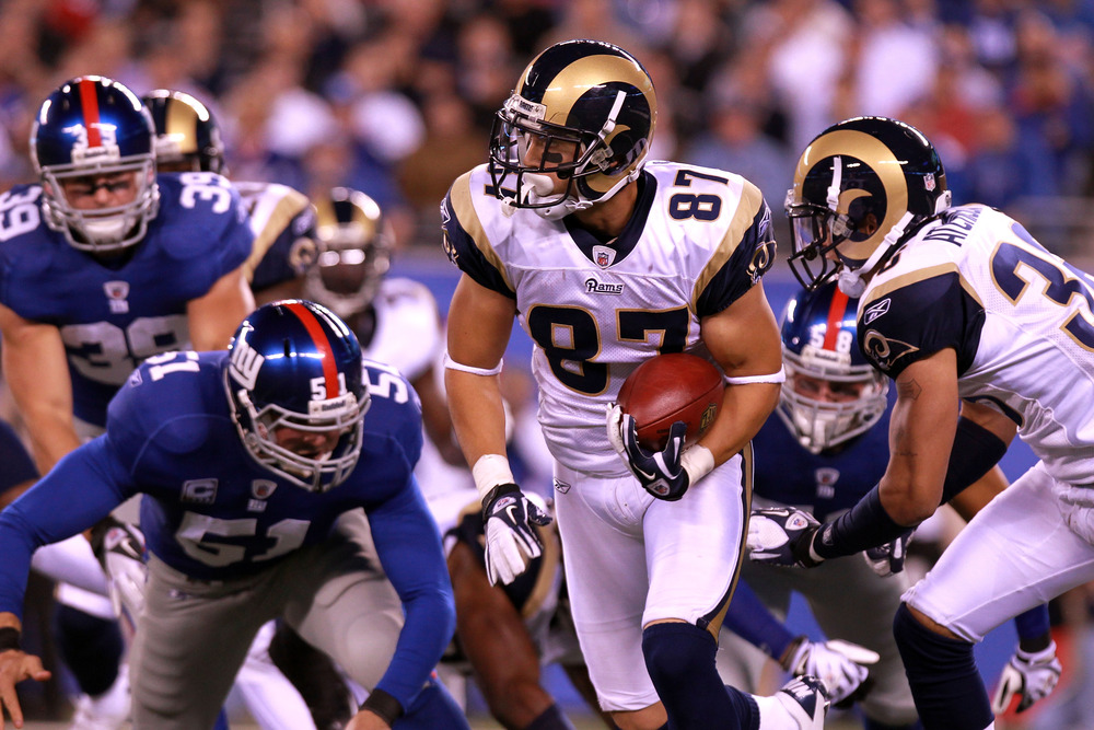 EAST RUTHERFORD, NJ - SEPTEMBER 19:  Greg Salas #87 of the St. Louis Rams runs for yards after the catch against the New York Giants at MetLife Stadium on September 19, 2011 in East Rutherford, New Jersey.  (Photo by Nick Laham/Getty Images)