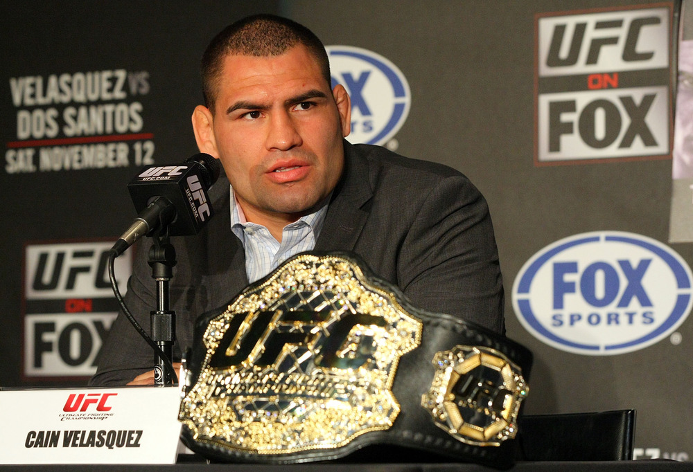HOLLYWOOD, CA:  UFC Fighter Cain Velasquez speaks at the UFC on Fox: Velasquez v Dos Santos - Press Conference at W Hollywood in Hollywood, California.  (Photo by Victor Decolongon/Getty Images)