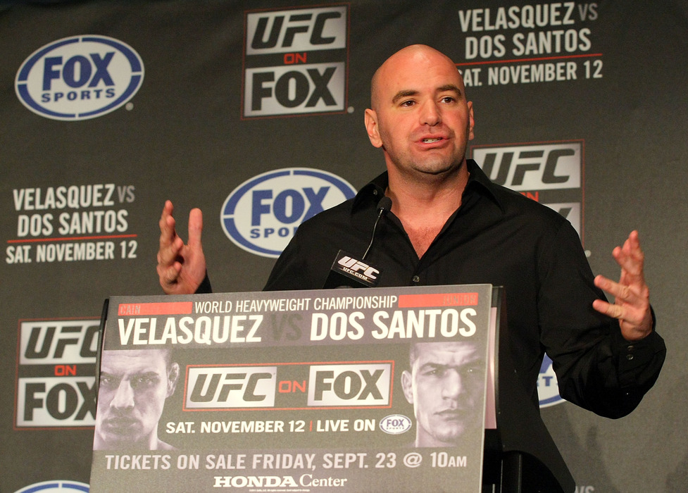 HOLLYWOOD, CA - SEPTEMBER 20:  UFC President Dana White speaks during the UFC on Fox: Velasquez v Dos Santos - Press Conference at W Hollywood on September 20, 2011 in Hollywood, California.  (Photo by Victor Decolongon/Getty Images)