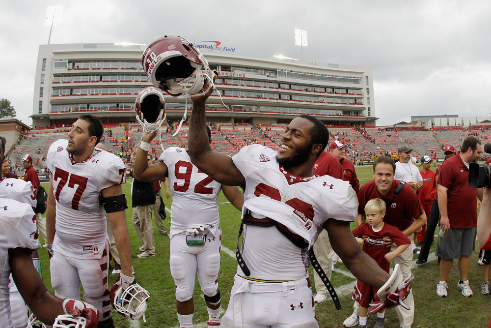 COLLEGE PARK, MD - SEPTEMBER 24:  Running back Bernard Pierce #30 of the Temple Owls celebrates after the Owls defeated the Maryland Terrapins 38-7 at Byrd Stadium on September 24, 2011 in College Park, Maryland.  (Photo by Rob Carr/Getty Images)