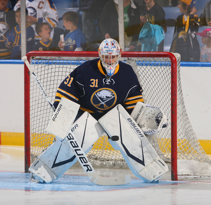 BUFFALO, NY - SEPTEMBER 24:  Drew MacIntyre #31 of the Buffalo Sabres skates in warm-ups prior to play against  the Toronto Maple Leafs at First Niagara Center on September 24, 2011 in Buffalo, New York.  (Photo by Rick Stewart/Getty Images)