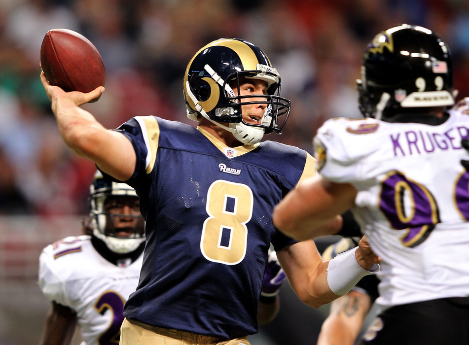ST LOUIS, MO - SEPTEMBER 25:  Quarterback Sam Bradford #8 of the St. Louis Rams passes during the game against the Baltimore Ravens on September 25, 2011 at the Edward Jones Dome in St Louis, Missouri.  (Photo by Jamie Squire/Getty Images)