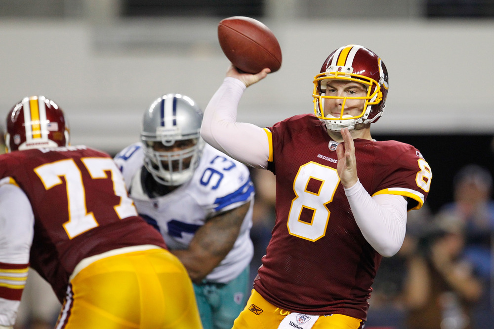 ARLINGTON, TX - SEPTEMBER 26:   Rex Grossman #8 of the Washington Redskins looks to pass against the Dallas Cowboys during their game at Cowboys Stadium on September 26, 2011 in Arlington, Texas.  (Photo by Tom Pennington/Getty Images)