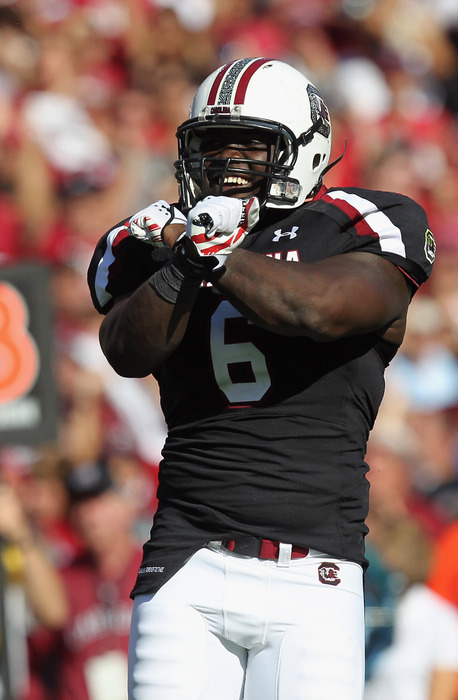 COLUMBIA, SC - OCTOBER 01:  Melvin Ingram #6 of the South Carolina Gamecocks celebrates after a sack during their game at Williams-Brice Stadium on October 1, 2011 in Columbia, South Carolina.  (Photo by Streeter Lecka/Getty Images)