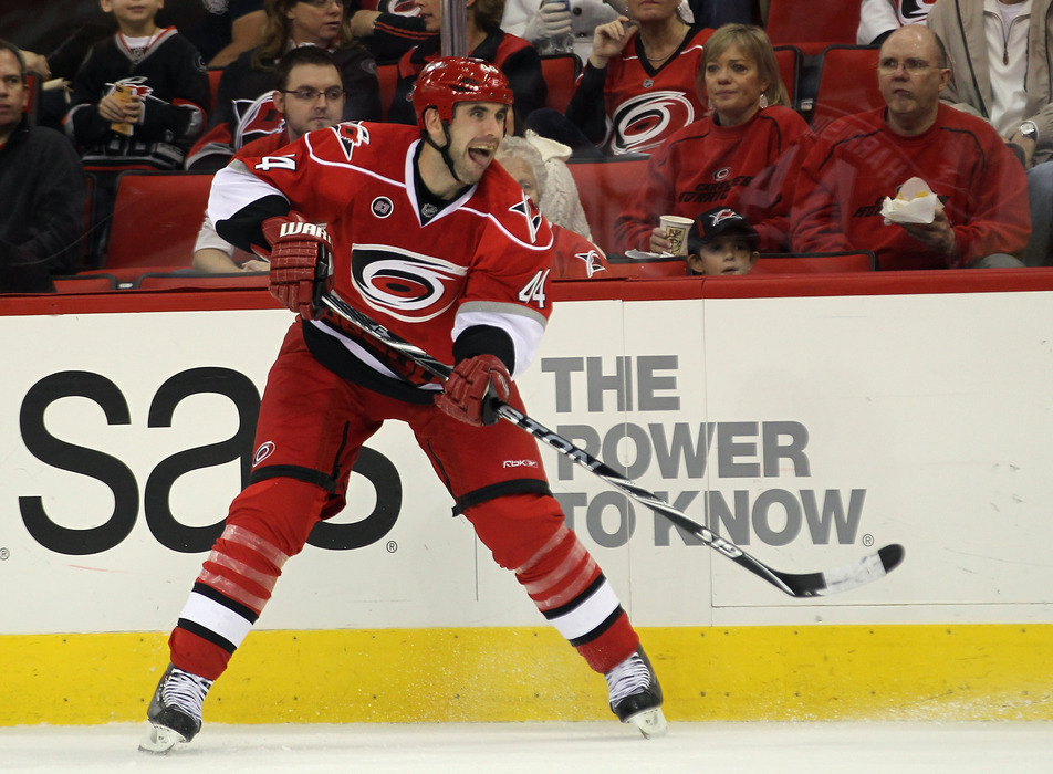 RALEIGH, NC - OCTOBER 07: Jay Harrison #44 of the Carolina Hurricanes skates against the Tampa Bay Lightning at the RBC Center on October 7, 2011 in Raleigh, North Carolina.  (Photo by Bruce Bennett/Getty Images)