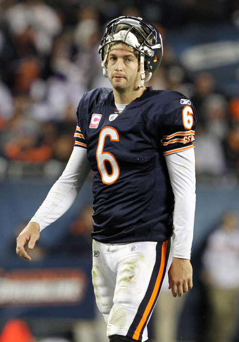 Turn that scowl upside down, Jay Cutler. (Photo by Tasos Katopodis /Getty Images)