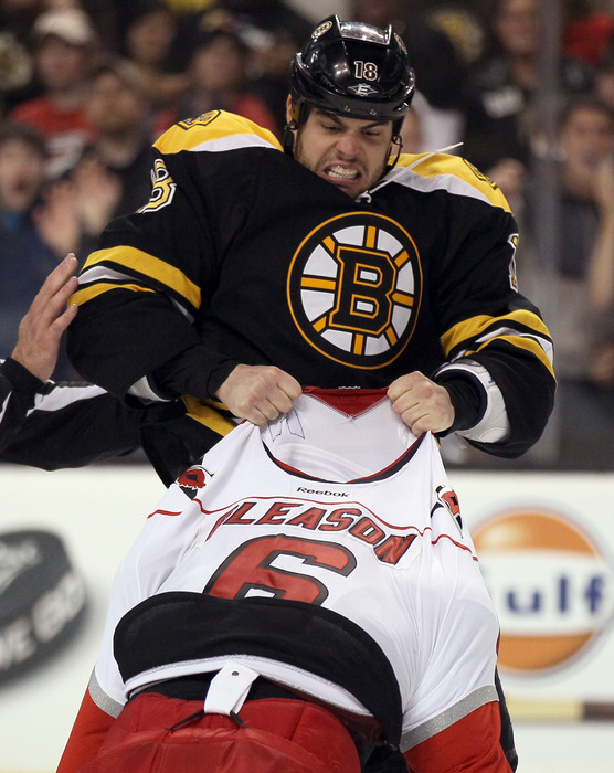 Nathan Horton's attack of an unwilling-to-fight Tim Gleason was part of Boston's collapse against the Hurricanes.  (Photo by Elsa/Getty Images)