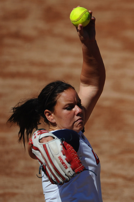 Oklahoma ace Keilani Ricketts pitched the Sooners to the title series (Photo by Dennis Grombkowski/Getty Images)