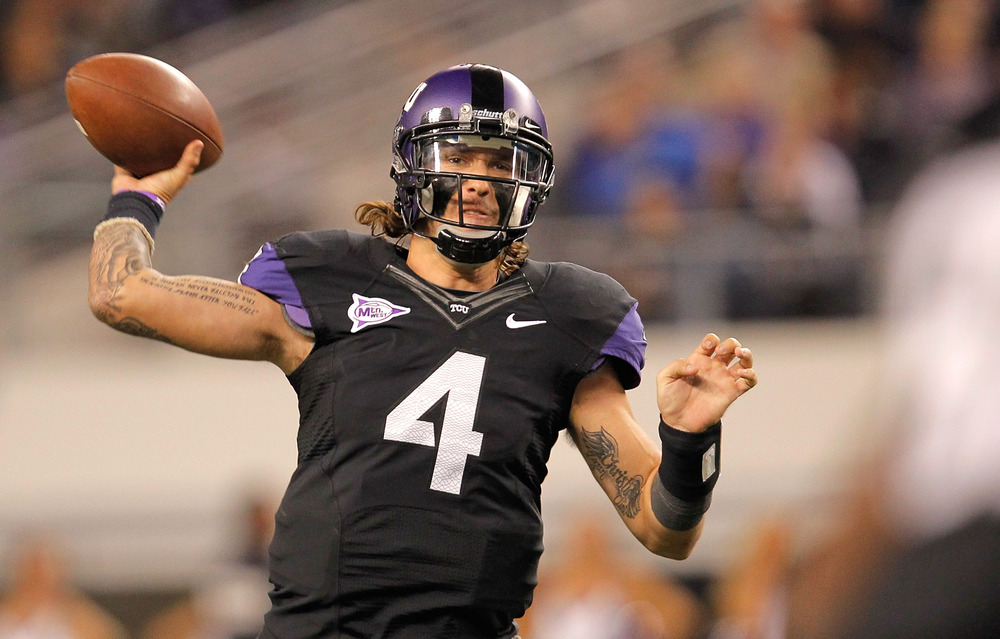 The tats. The hair. The eye black. Pachall is a quarterback for all America to embrace. (Photo by Sarah Glenn/Getty Images)