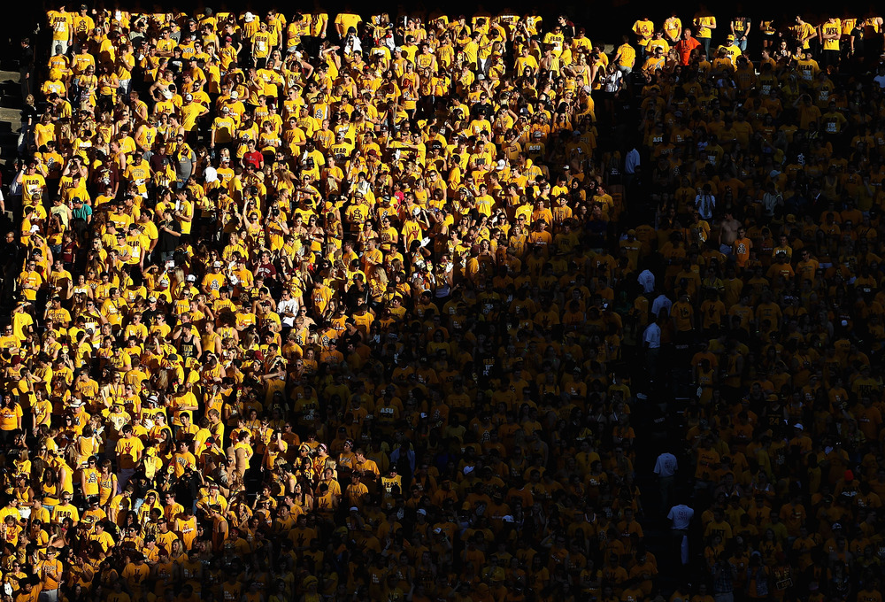 TEMPE, AZ - OCTOBER 29:  Fans of the Arizona State Sun Devils watch the college football game against  the Colorado Buffaloes at Sun Devil Stadium on October 29, 2011 in Tempe, Arizona.  (Photo by Christian Petersen/Getty Images)