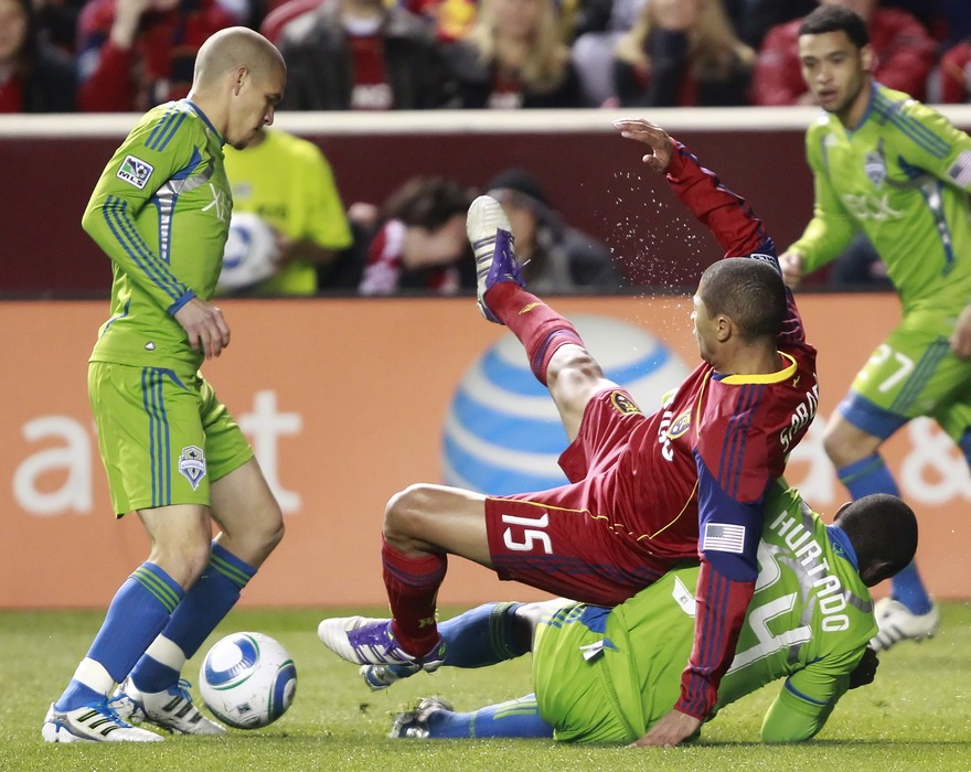 The Sounders may have foiled Alvaro Saborio's plans in this picture, but they wouldn't be so lucky for most of the match-- Saborio scored a brace in last night's 3-0 Real Salt Lake victory.