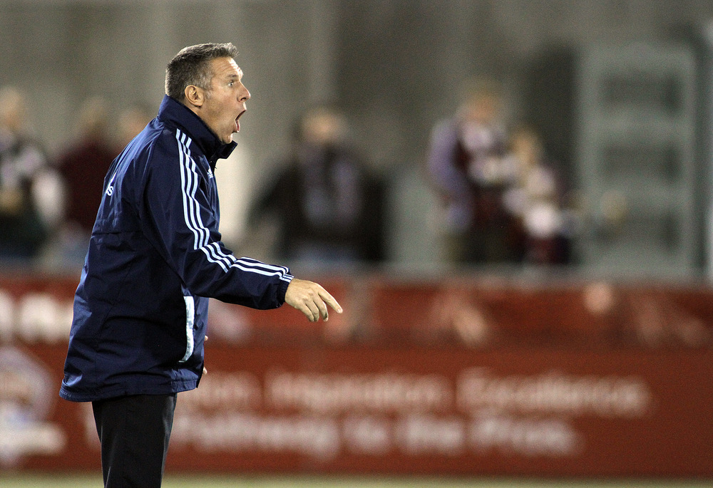 After feeling the heat earlier in the season, Sporting KC head coach Peter Vermes is a MLS Coach of the Year candidate.(Photo by Marc Piscotty/Getty Images)