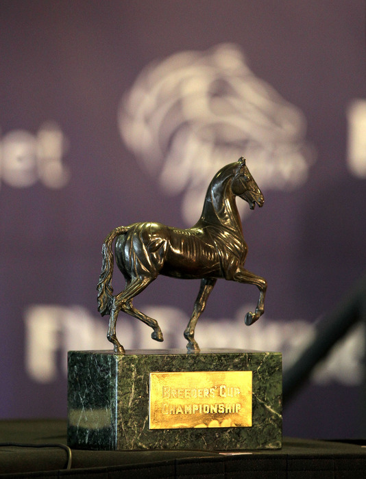 LOUISVILLE, KY - OCTOBER 31st:  The Breeder's Cup trophy is on display at the 2011 Breeders Cup Post Position Draw at Churchill Downs on October 31, 2011 in Louisville, Kentucky.  (Photo by Andy Lyons/Getty Images)