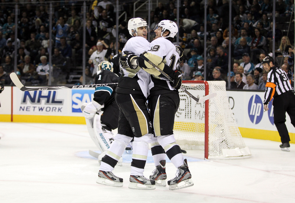 We think James Neal owes Malkin more than a hug for helping him pick up the coveted Breakout in Goals Scored Award.