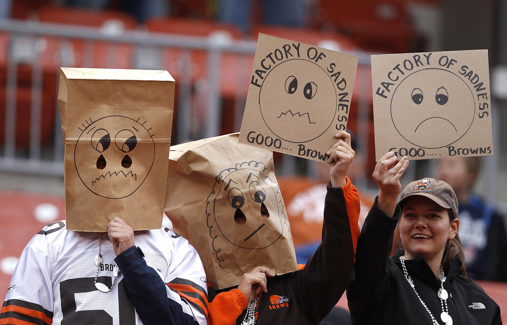 CLEVELAND, OH - NOVEMBER 13:  Cleveland Browns fans react after their 13-12 loss to the St. Louis Rams at Cleveland Browns Stadium on November 13, 2011 in Cleveland, Ohio.  (Photo by Matt Sullivan/Getty Images)