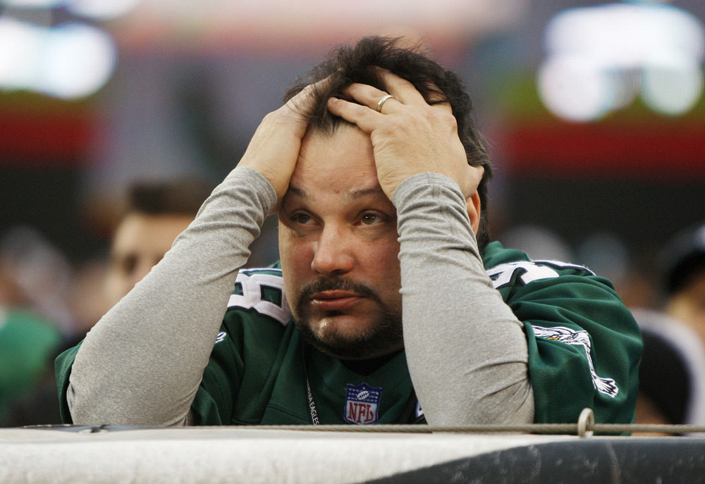 PHILADELPHIA, PA - NOVEMBER 13: A Philadelphia Eagles fan shows his frustration as the Eagles lose to the Arizona Cardinals 21-17 at Lincoln Financial Field on November 13, 2011 in Philadelphia, Pennsylvania. (Photo by Rich Schultz /Getty Images)