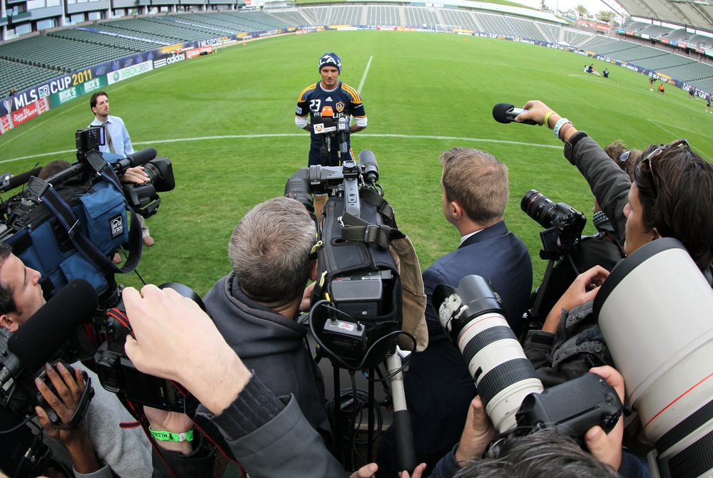 David Beckham's part of Saturday's media session, about 30 hours before Sunday's MLS Cup final.