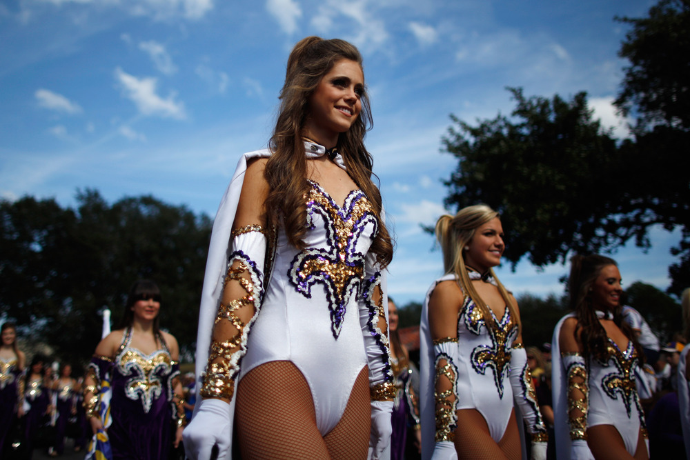 BATON ROUGE, LA - NOVEMBER 25:  Members of the LSU Golden Girls march to the stadium before the LSU Tigers play the Arkansas Razorbacks at Tiger Stadium on November 25, 2011 in Baton Rouge, Louisiana.  (Photo by Chris Graythen/Getty Images)