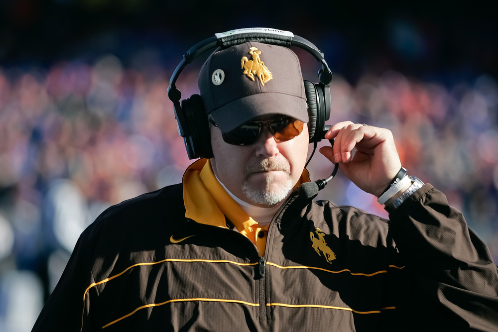 BOISE, ID - NOVEMBER 26: Head Coach Dave Christensen of the Wyoming Cowboys walks the sideline between plays against the Boise State Broncos at Bronco Stadium on November 26, 2011 in Boise, Idaho.  (Photo by Otto Kitsinger III/Getty Images)