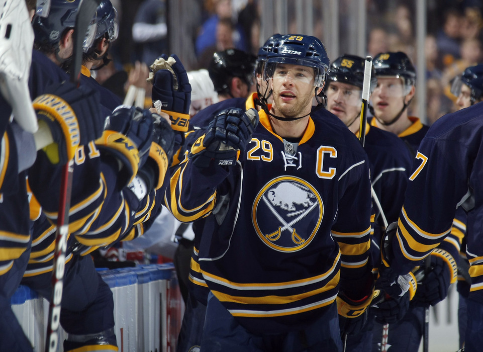 BUFFALO, NY - NOVEMBER 26:  Jason Pominville #29 of the Buffalo Sabres celebrates a goal against the Washington Capitals during their NHL game at First Niagara Center on November 26, 2011 in Buffalo, New York.  (Photo by Dave Sandford Getty Images)