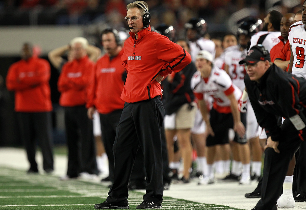 ARLINGTON, TX - NOVEMBER 26:  Head coach Tommy Tuberville of the Texas Tech Red Raiders at Cowboys Stadium on November 26, 2011 in Arlington, Texas.  (Photo by Ronald Martinez/Getty Images)
