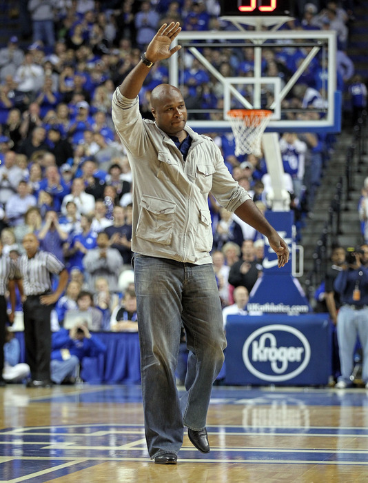 LEXINGTON, KY - NOVEMBER 26:  Antoine Walker a former star for the Kentucky Wildcats waves to the crowd during the game against the Portland Pilots at Rupp Arena on November 26, 2011 in Lexington, Kentucky.  (Photo by Andy Lyons/Getty Images)