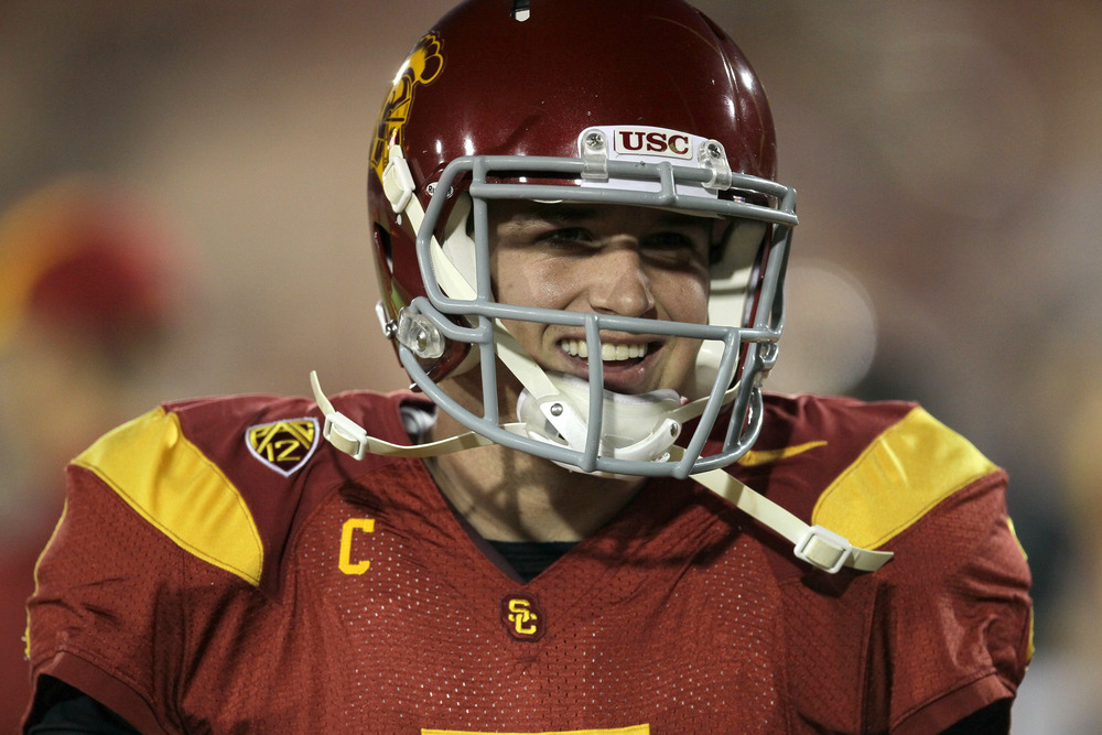 LOS ANGELES, CA - NOVEMBER 26:  Quarterback Matt Barkley #7 of the USC Trojans gets ready for the game with the UCLA Bruins at the Los Angeles Memorial Coliseum on November 26, 2011 in Los Angeles, California.  (Photo by Stephen Dunn/Getty Images)