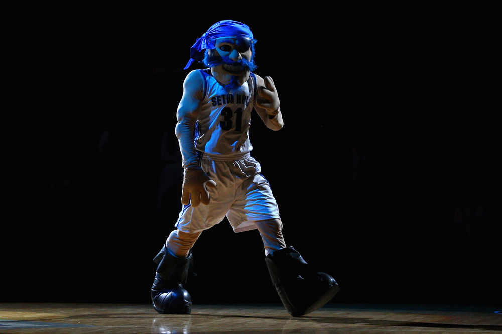 NEWARK, NJ - DECEMBER 02:  The mascot for the Seton Hall Pirates performs against the Auburn Tigers at Prudential Center on December 2, 2011 in Newark, New Jersey.  (Photo by Chris Chambers/Getty Images)