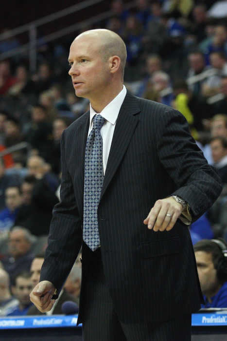 Head coach Kevin Willard of the Seton Hall Pirates looks on as he coaches against the Auburn Tigers at Prudential Center on December 2, 2011 in Newark, New Jersey.  (Photo by Chris Chambers/Getty Images)