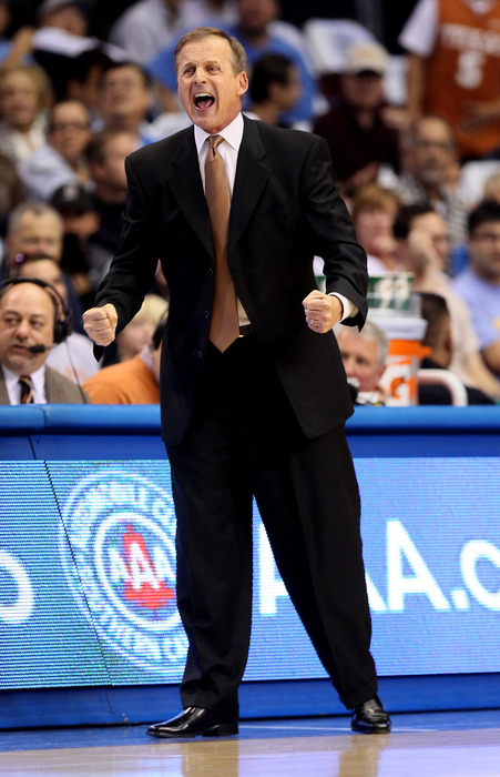 LOS ANGELES, CA - DECEMBER 03:  Head coach Rick Barnes of the Texas Longhorns shouts during the game against the UCLA Bruins at LA Sports Arena on December 3, 2011 in Los Angeles, California. Texas won 69-59.  (Photo by Stephen Dunn/Getty Images)