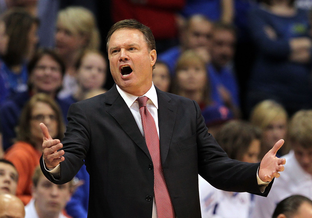 LAWRENCE, KS - DECEMBER 06:  Head coach Bill Self of the Kansas Jayhawks questions a call during the game against the Long Beach State 49ers on December 6, 2011 at Allen Fieldhouse in Lawrence, Kansas.  (Photo by Jamie Squire/Getty Images)
