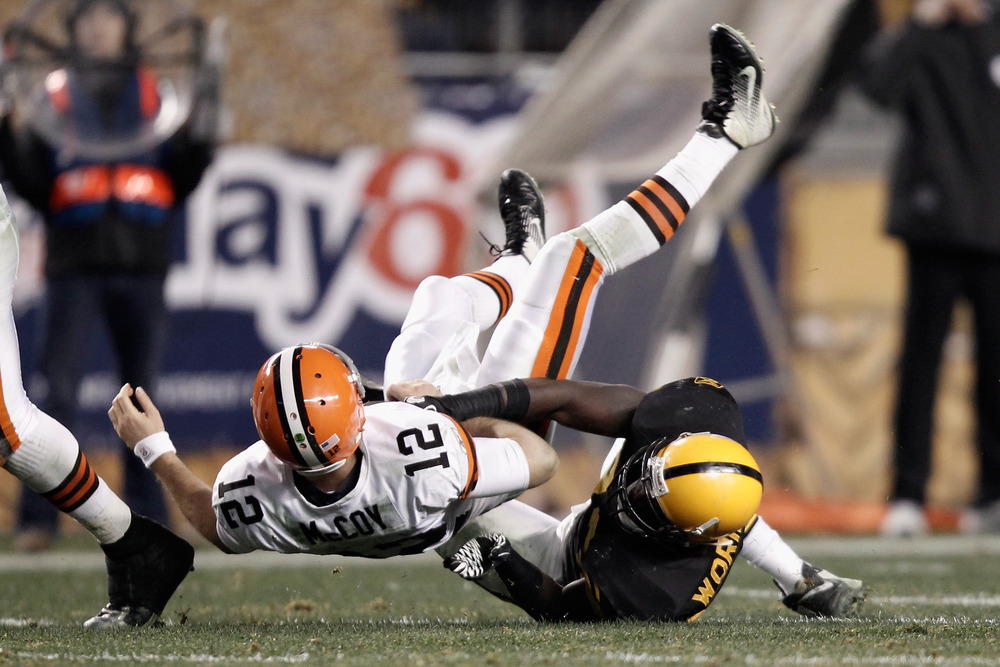 PITTSBURGH, PA - DECEMBER 08:  Jason Worilds #93 of the Pittsburgh Steelers sacks Colt McCoy #12 of the Cleveland Browns at Heinz Field on December 8, 2011 in Pittsburgh, Pennsylvania.  (Photo by Jared Wickerham/Getty Images)