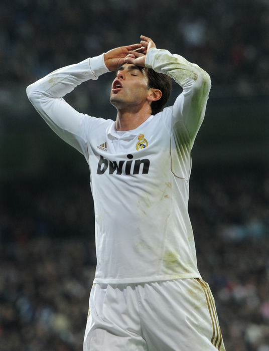 MADRID, SPAIN - DECEMBER 10:  Kaka of Real Madrid reacts as he fails to score during the la Liga match between Real Madrid and Barcelona at Estadio Santiago Bernabeu on December 10, 2011 in Madrid, Spain.  (Photo by Jasper Juinen/Getty Images)