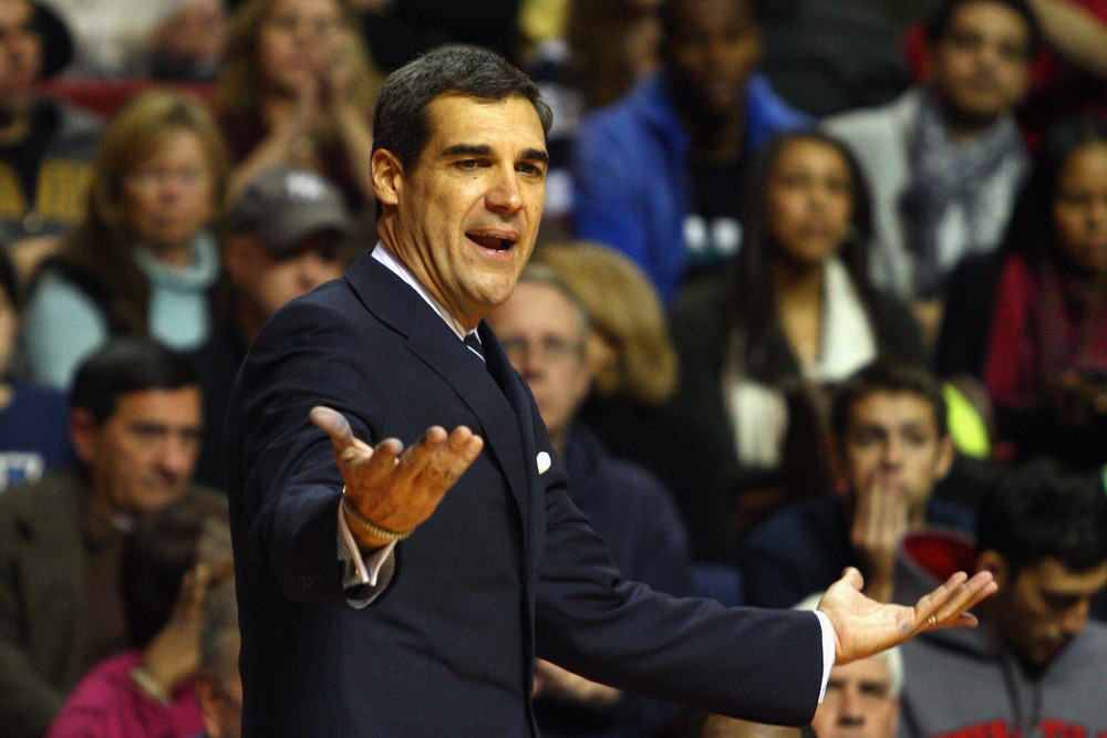 PHILADELPHIA, PA - DECEMBER 10:  Head coach Jay Wright of the Villanova Wildcats reacts as he coaches against the Temple Owls at the Liacouras Center on December 10, 2011 in Philadelphia, Pennsylvania.  (Photo by Chris Chambers/Getty Images)
