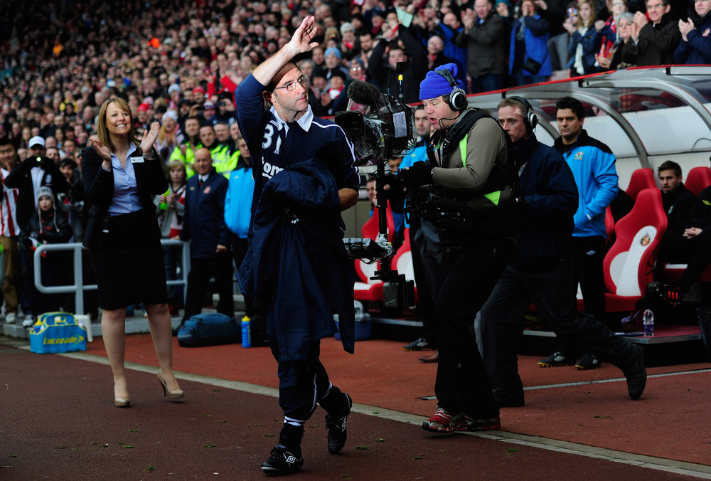 New Sundeland manager Martin O' Neill waves to the fans before the Barclays premier league game between Sunderland and Blackburn Rovers at Stadium of Light.