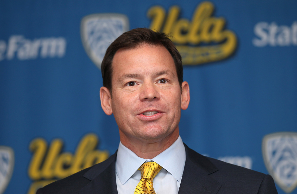 LOS ANGELES, CA - DECEMBER 13: Jim Mora speaks at a press conference introducing him as head UCLA football coach at the J.D. Morgan Center at UCLA on December 13, 2011 in Los Angeles, California.  (Photo by Stephen Dunn/Getty Images)