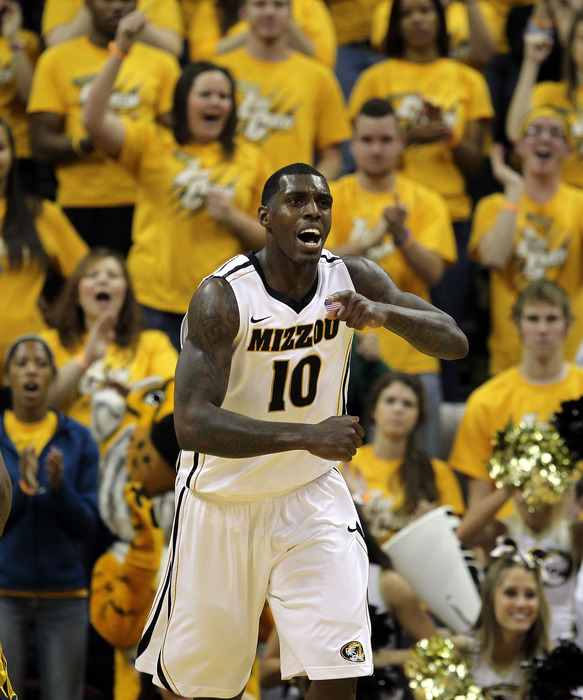 COLUMBIA, MO - DECEMBER 15:  Ricardo Ratliffe #10 of the Missouri Tigers clelbrates after scoring during the game against the Kennesaw State Owls on December 15, 2011 at Mizzou Arena in Columbia, Missouri.  (Photo by Jamie Squire/Getty Images)