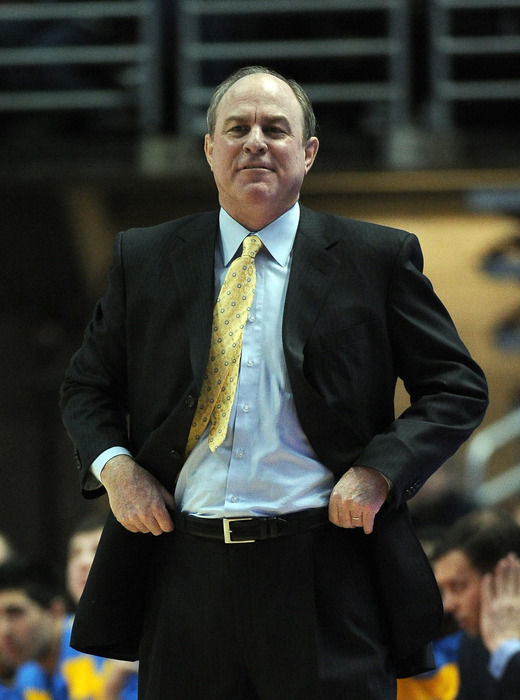 ANAHEIM, CA - DECEMBER 17:  Head coach Ben Howland of the UCLA Bruins smiles from the sidelines during an 82-39 win over the UC Davis Aggies at Honda Center on December 17, 2011 in Anaheim, California.  (Photo by Harry How/Getty Images)