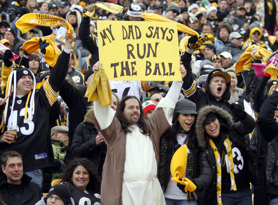 PITTSBURGH, PA - DECEMBER 24:  A Pittsburgh Steelers holds up a  sign during the game against the St. Louis Rams during the game on December 24, 2011 at Heinz Field in Pittsburgh, Pennsylvania.  (Photo by Justin K. Aller/Getty Images)