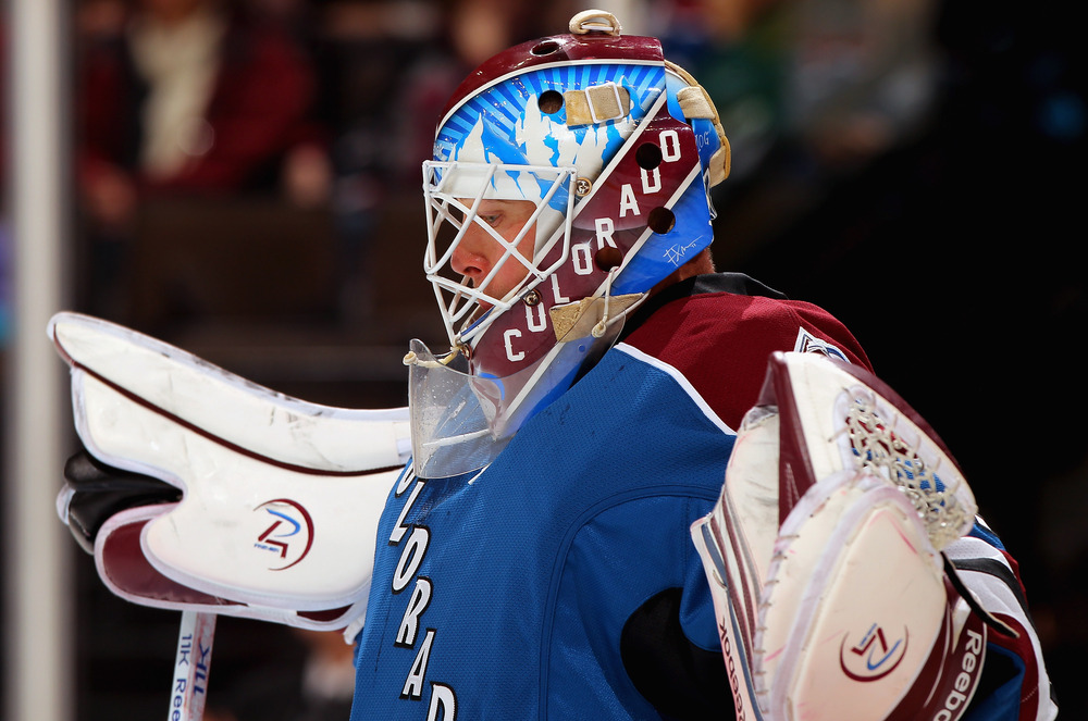 """I love how the diagonal """"COLORADO"""" on his mask is going the opposite direction of the one on his chest.  (Photo by Doug Pensinger/Getty Images)"""