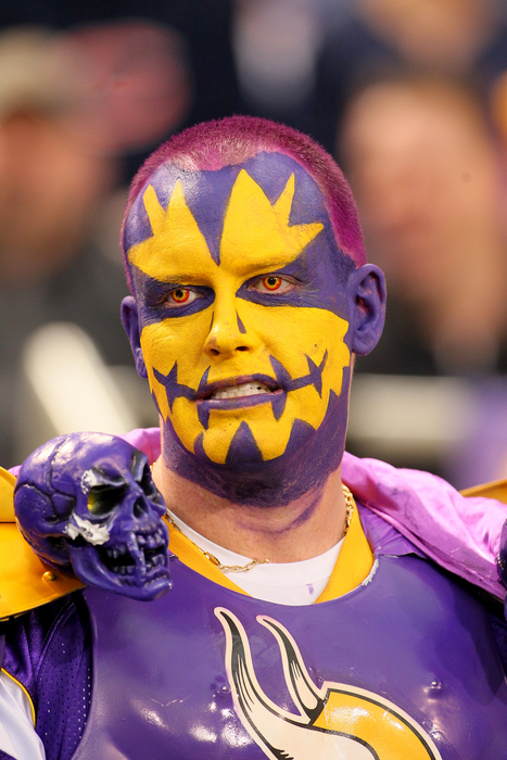 MINNEAPOLIS, MN - JANUARY 01:  Minnesota Vikings fan against the Chicago Bears at the Hubert H. Humphrey Metrodome on January 01, 2012 in Minneapolis, Minnesota.  (Photo by Adam Bettcher /Getty Images)