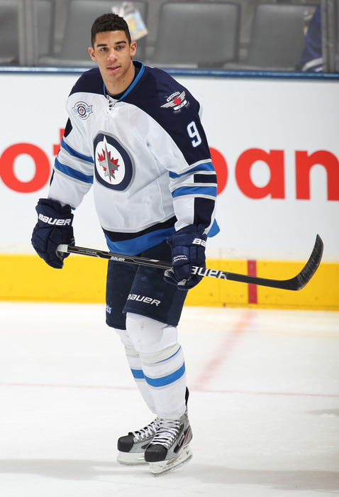 TORONTO, CANADA- JANUARY 5:  Evander Kane #9 of the Winnipeg Jets skates in the warm-up prior to a game against the Toronto Maple Leafs on January 5, 2012 at the Air Canada Centre in Toronto, Canada. (Photo by Claus Andersen/Getty Images)