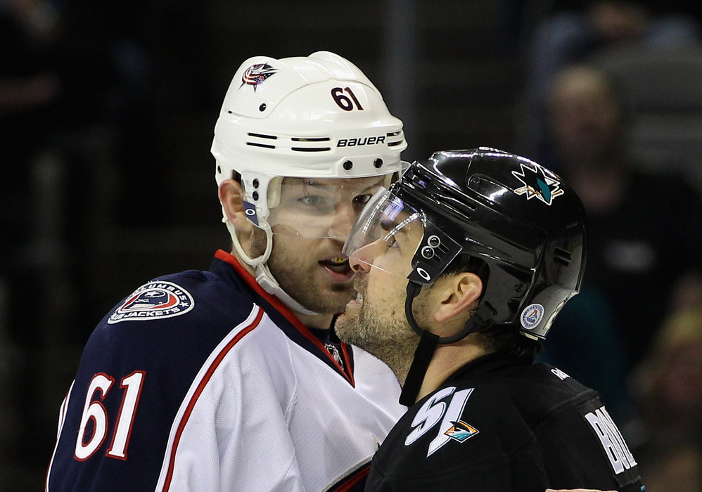 SAN JOSE, CA - JANUARY 05:  Rick Nash #61 of the Columbus Blue Jackets has words with Dan Boyle #22 of the San Jose Sharks during their game at HP Pavilion at San Jose on January 5, 2012 in San Jose, California.  (Photo by Ezra Shaw/Getty Images)