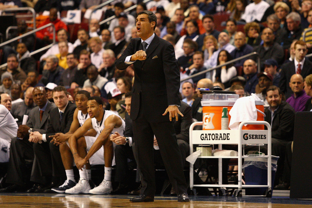 PHILADELPHIA, PA - JANUARY 11:  Head coach Jay Wright of the Villanova Wildcats reacts as he coaches against the Syracuse Orange at the Wells Fargo Center on January 11, 2012 in Philadelphia, Pennsylvania.  (Photo by Chris Chambers/Getty Images)