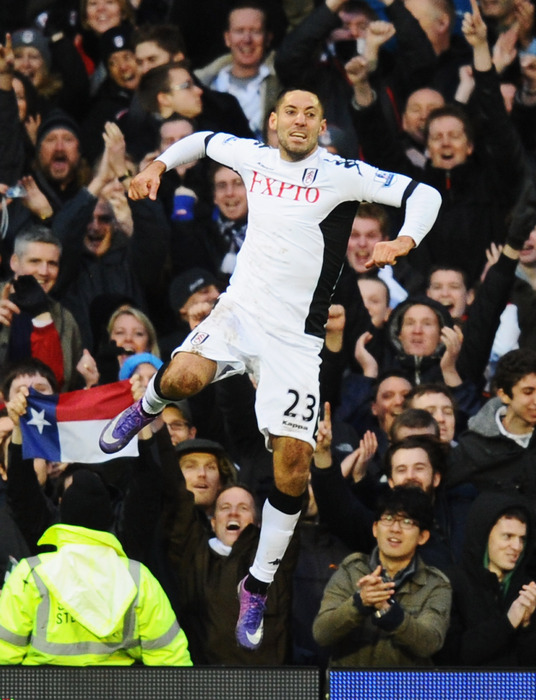 Clint Dempsey became the first American to score a hat trick in Premier League history in Fulham's 5-2 win over Newcastle. (Photo by Mike Hewitt/Getty Images)