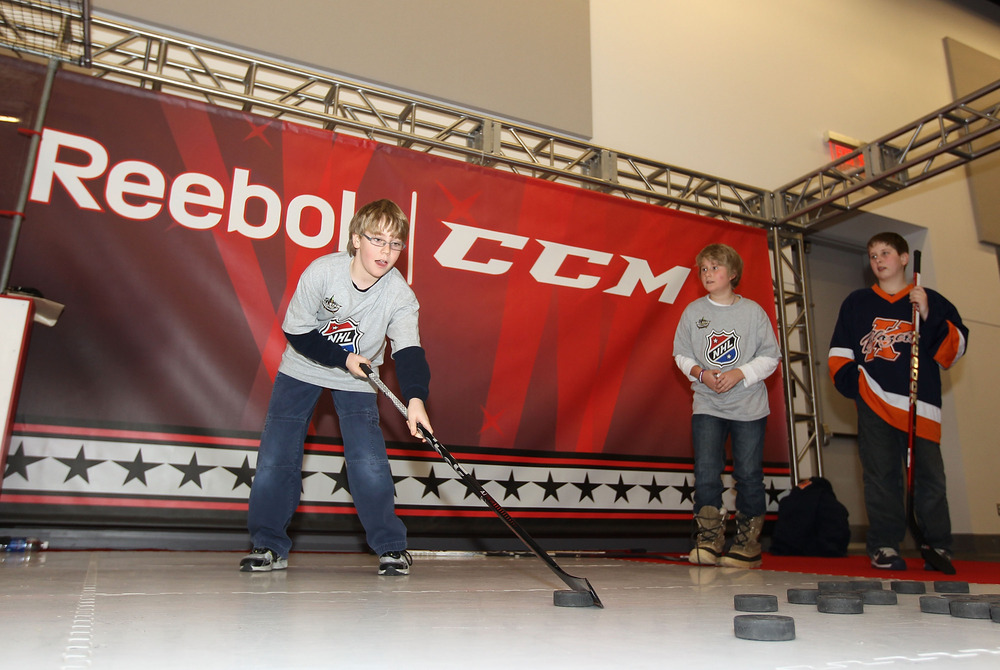 OTTAWA, ON - JANUARY 26:  Ben Wiens of Kanta, Canada competes in a skill test at NHL Fan Fair at the Ottawa Convention Centre as part of NHL All Star weekend on January 26, 2012 in Ottawa, Ontario, Canada.  (Photo by Christian Petersen/Getty Images)