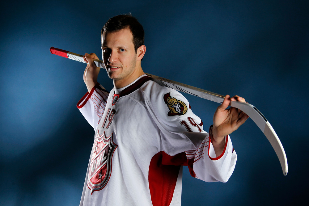 """OTTAWA, ON - JANUARY 29:  Jason Spezza, seen here doing his best """"Darling of the Masses"""" pose, recently signed on with the Swiss National League's Rapperswil-Jona Lakers.  (Photo by Gregory Shamus/Getty Images)"""